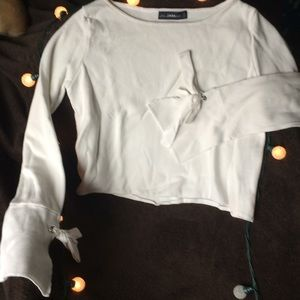 Zara Knit White Cropped Bell Sleeve Sweater